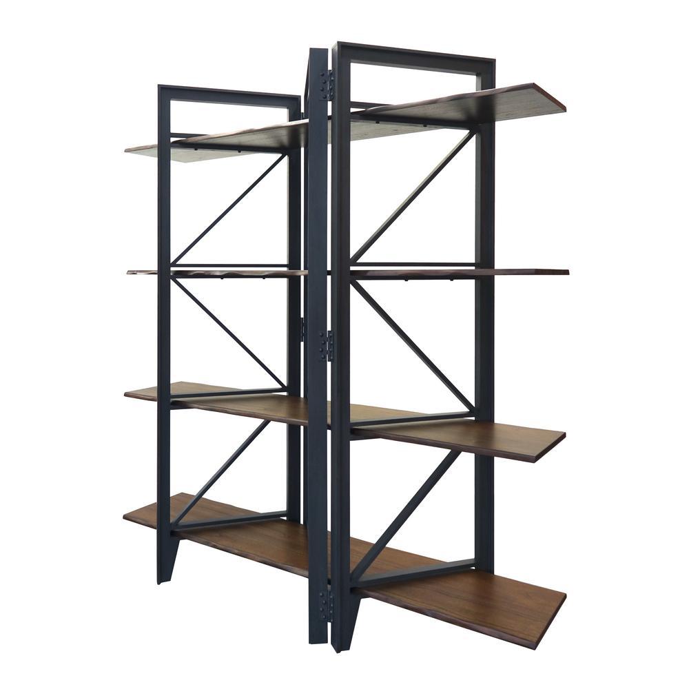 78.5 in. Graphite Gray/Brown Wood 4-shelf Accent Bookcase