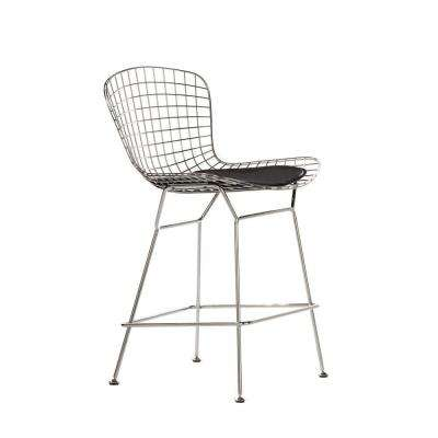 James 24 in. Black Cushioned Counter Stool in Chrome with Back