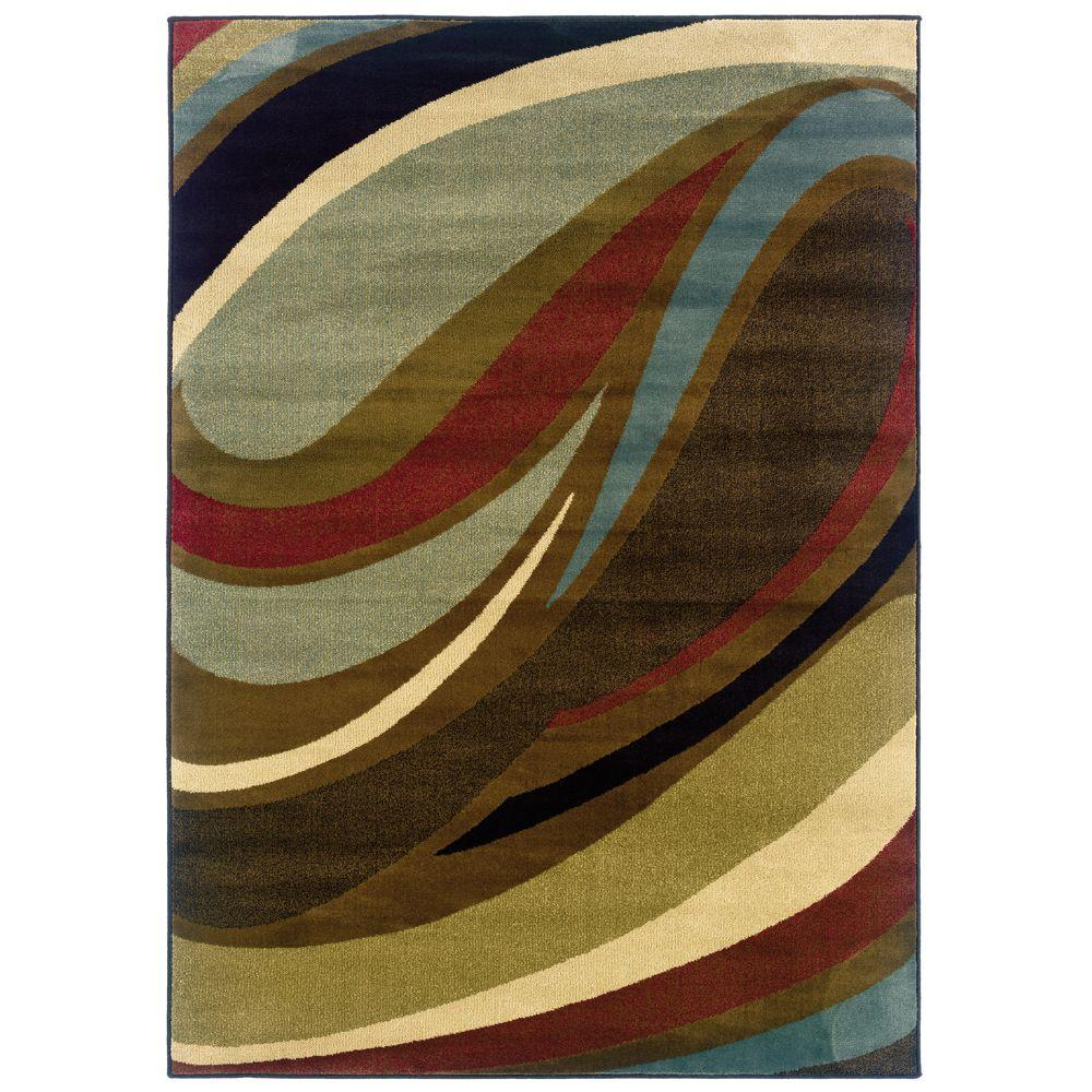 Home Decorators Collection Legacy Curve Brown 6 ft. 7 in. x 9 ft. 6 in. Area Rug