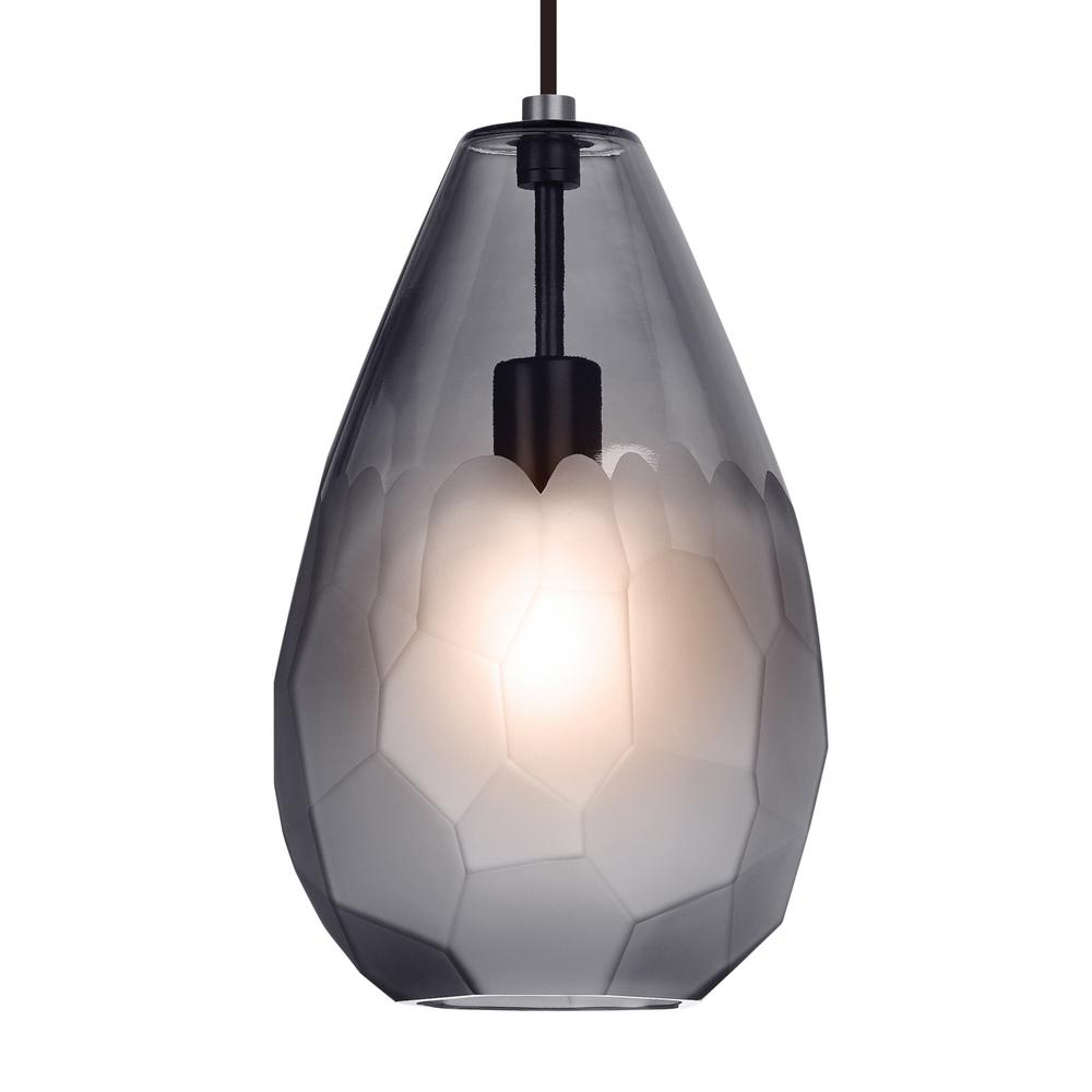 LBL Lighting Briolette Grande Collection 9.5-Watt Satin Nickel Integrated LED Pendant The transparent glass of the Briolette Grande pendant light from LBL Lighting is formed into an unexpectedly large teardrop shape. It is then hand finished with unique semi-opaque facets. This creates visual interest and subtly obscures the light source.