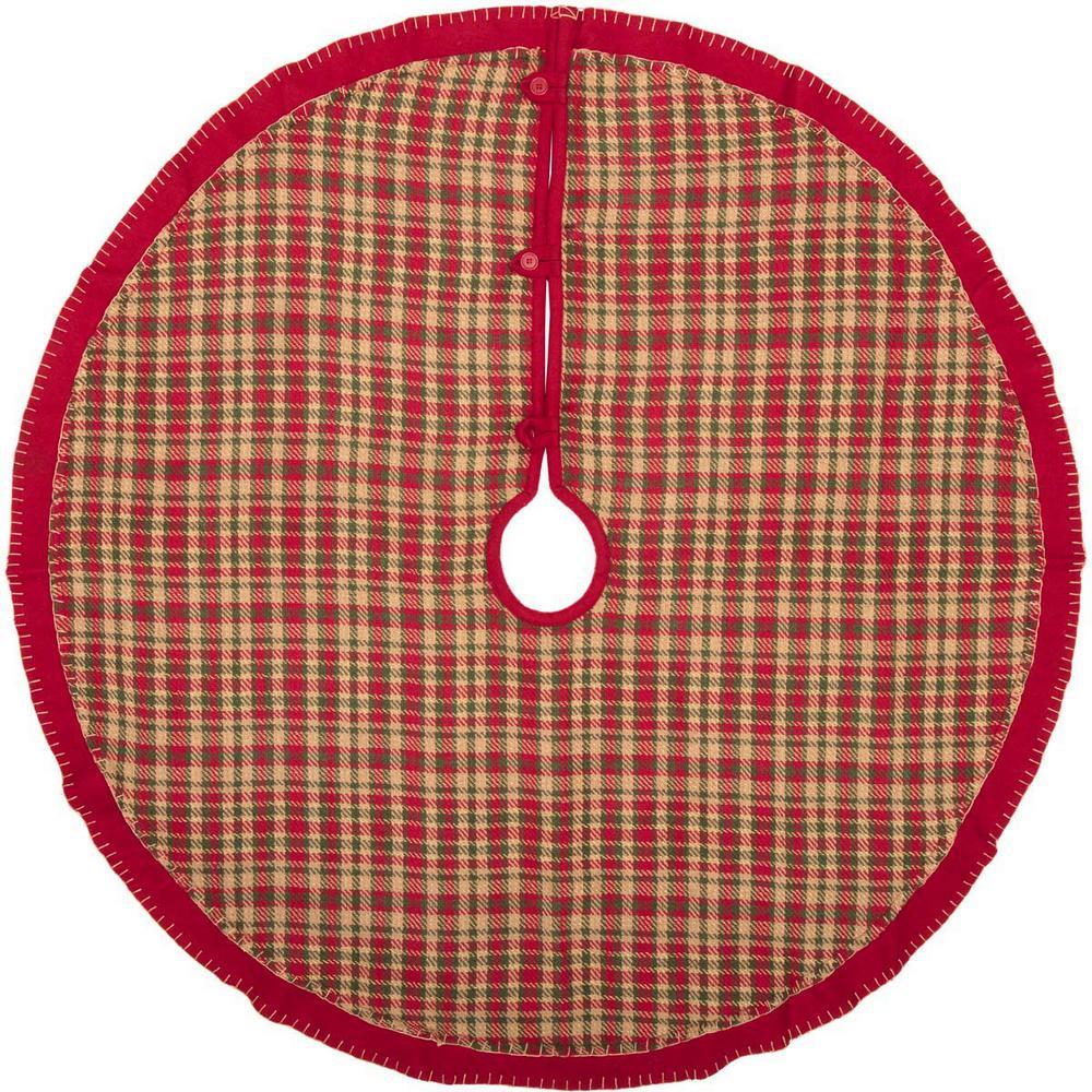 Vhc Brands 48 In Claren Cherry Red Rustic Christmas Decor Tree Skirt