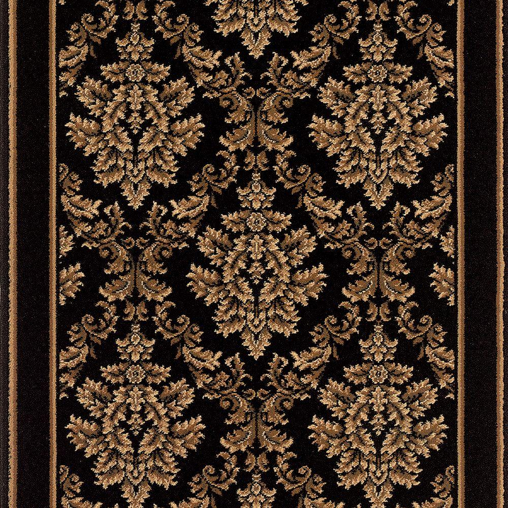 Kurdamir Damask Black 26 In. X Your Choice Length Roll Runner