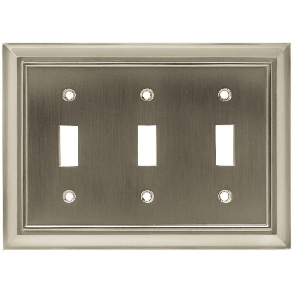 Hampton Bay Architectural Decorative Triple Switch Plate, Satin Nickel