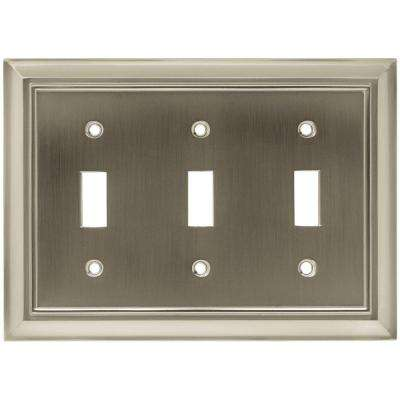 Architectural Decorative Triple Switch Plate, Satin Nickel