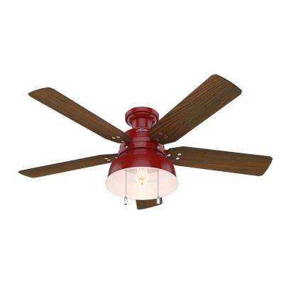 Mill Valley 52 in. LED Indoor/Outdoor Low Profile Barn Red Ceiling Fan with Light