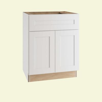 Newport Assembled 30x34.5x24 in. Plywood Shaker Base Kitchen Cabinet Soft Close Doors/Drawers in Painted Pacific White