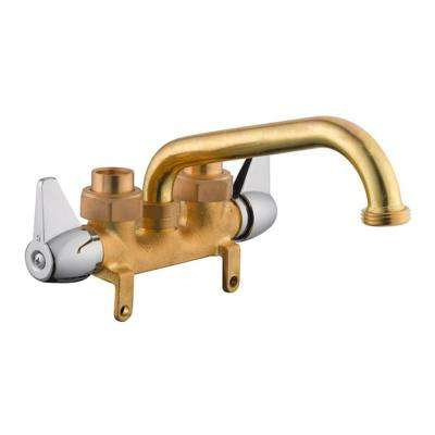 2-Handle Laundry Faucet in Rough Brass and Chrome