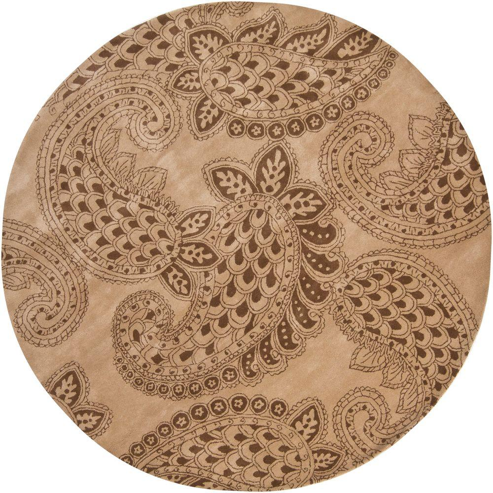 Chandra Rowe Taupe/Brown 7 ft. 9 in. Indoor Round Area Rug