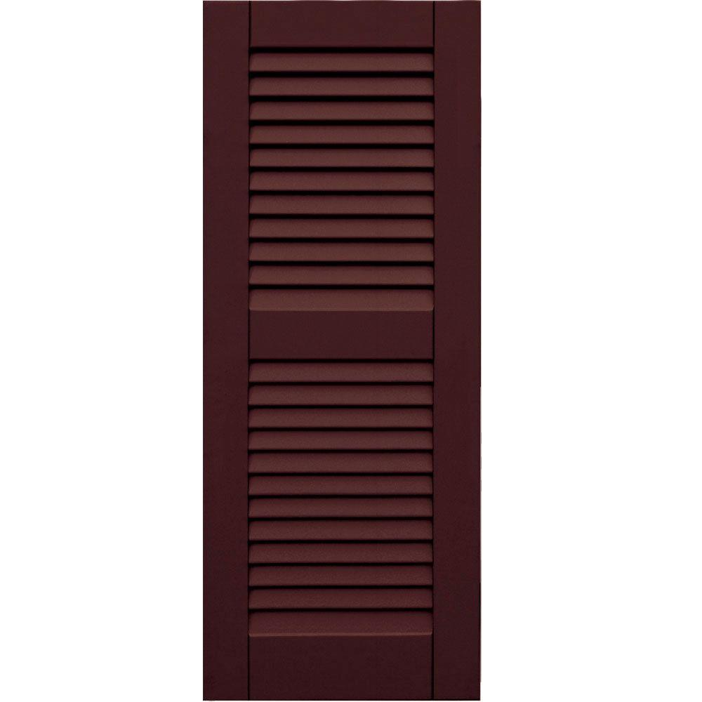 Winworks Wood Composite 15 in. x 38 in. Louvered Shutters Pair #657 Polished Mahogany