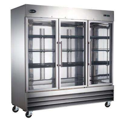 81 in. W 72 cu. ft. Three Glass Door Commercial Refrigerator in Stainless Steel