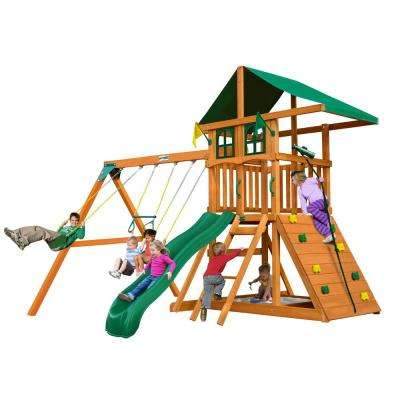 Installed Outing III Treehouse Wooden Swing Set with Rock Wall and Slide