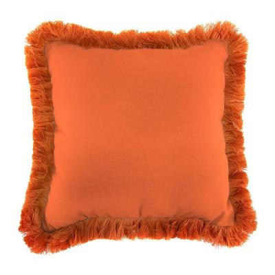 Sunbrella Canvas Tuscan Square Outdoor Throw Pillow with Tuscan Fringe