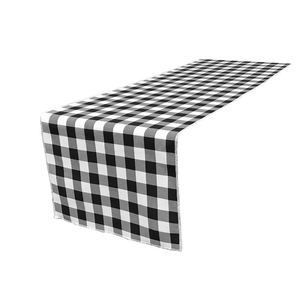 LALinen LA Linen 14 in. x 108 in. White and Black Polyester Gingham Checkered Table Runner, White/Black
