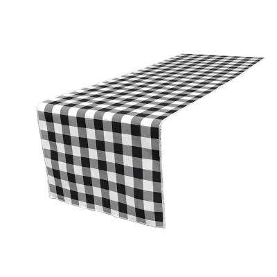 14 in. x 108 in. White and Black Polyester Gingham Checkered Table Runner