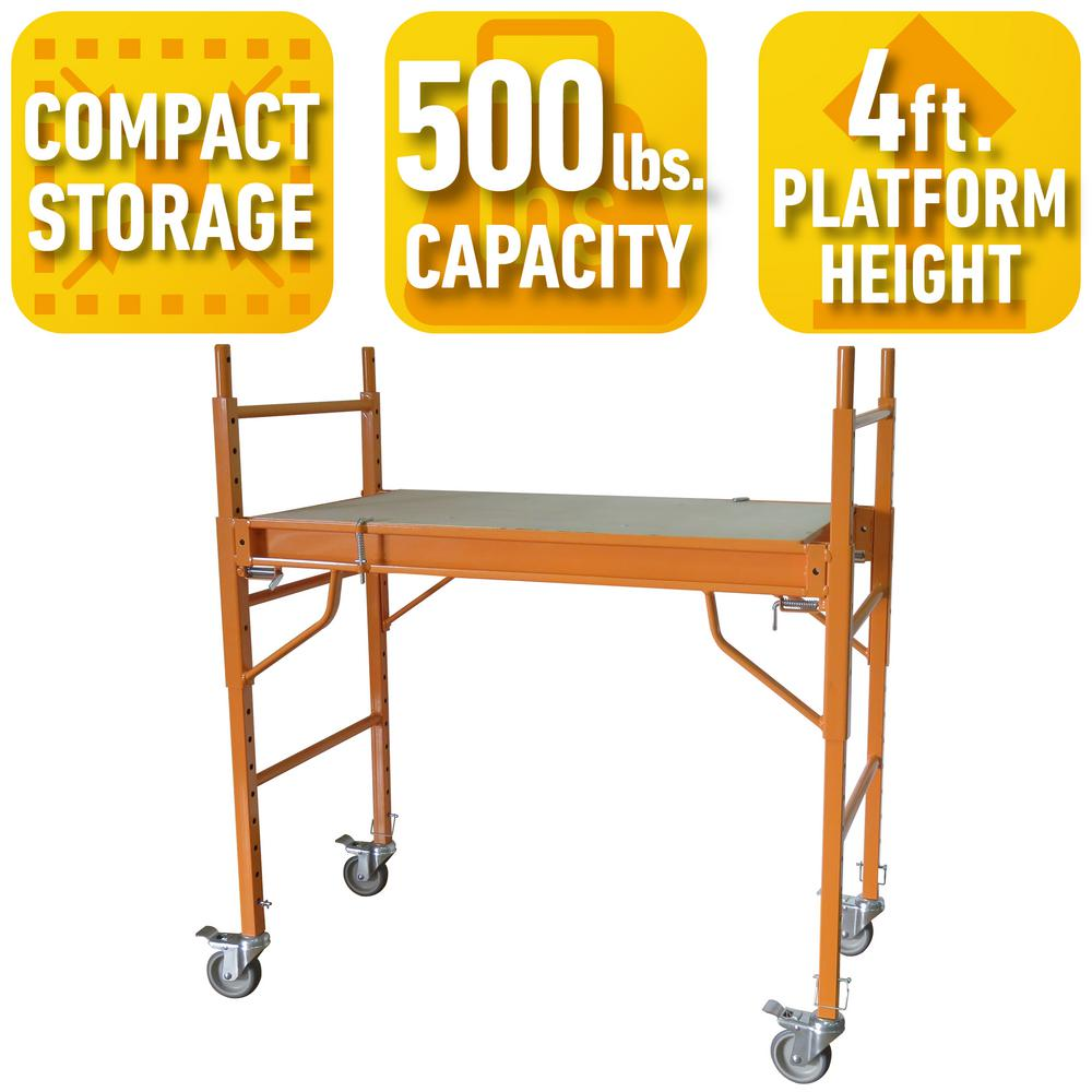 PRO-SERIES 4 ft. x 3.5 ft. x 2 ft. Mini Multi-Use Drywall Baker Scaffold with 500 lbs. Load Capacity