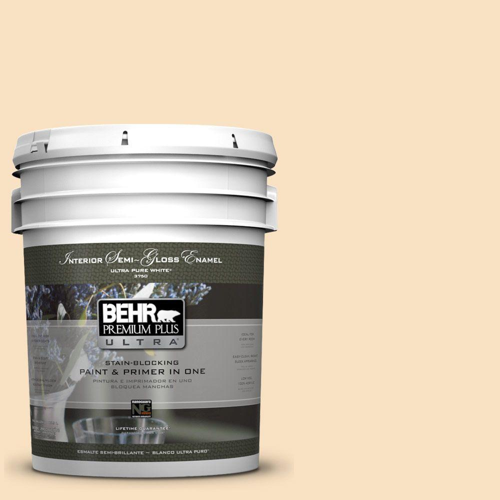 BEHR Premium Plus Ultra 5-gal. #310E-2 Stable Hay Semi-Gloss Enamel Interior Paint