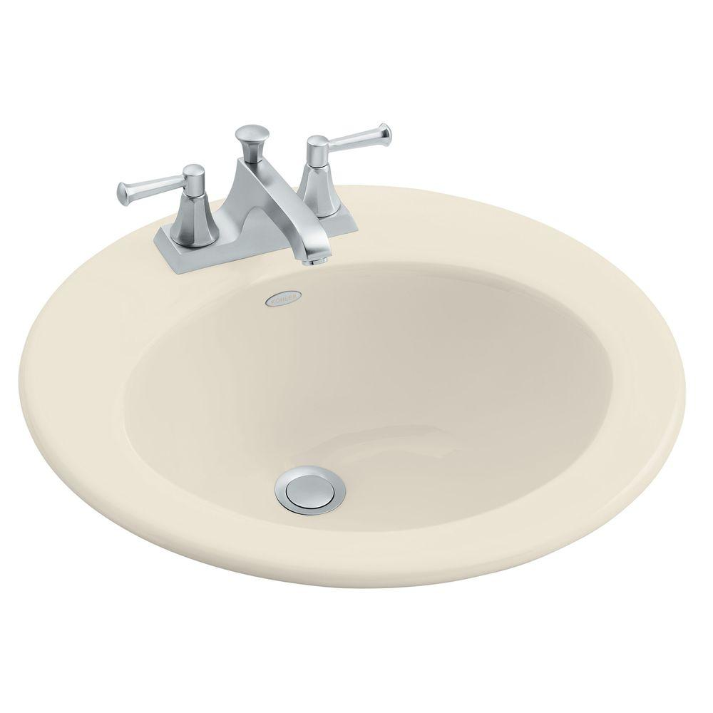 Radiant Drop-In Cast Iron Bathroom Sink in Almond with Overflow Drain