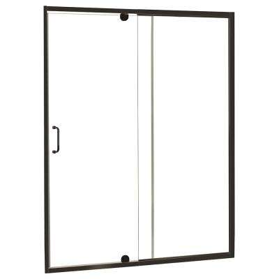 Cove 42 in. W x 69 in. H Frameless Pivot Shower Door and Fixed Panel in Oil Rubbed Bronze with C-Handle and Knob