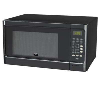 1.1 cu. Ft. Countertop Microwave Black 1000-Watt with Push Button