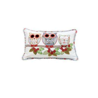 Owls on a Branch 20 in. W Decorative Pillow