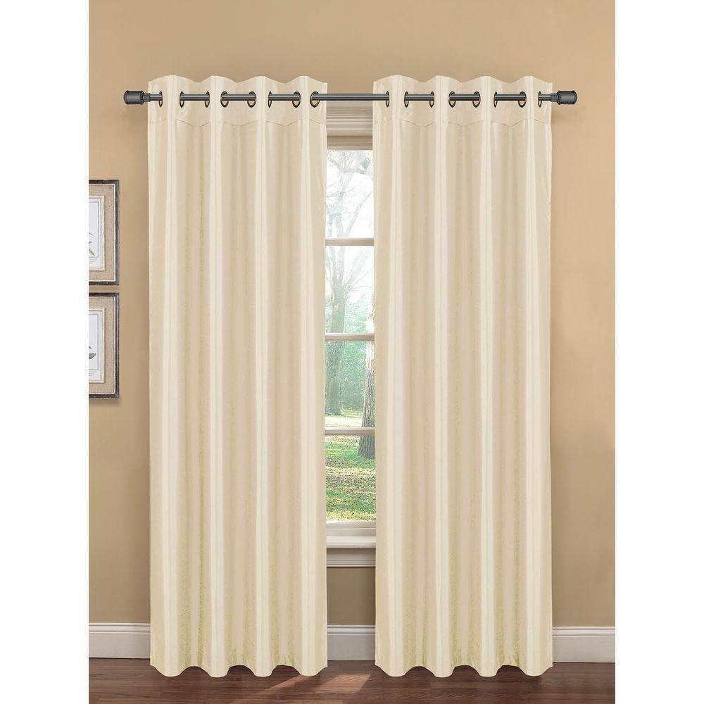 Semi-Opaque Bliss Faux Silk Room Darkening Grommet Curtain Panel, 76 in. W x 84 in. L (1 Pair)