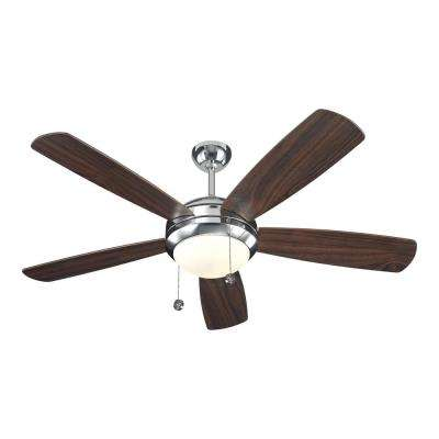 Discus 52 in. Polished Nickel Ceiling Fan with American Walnut Blades