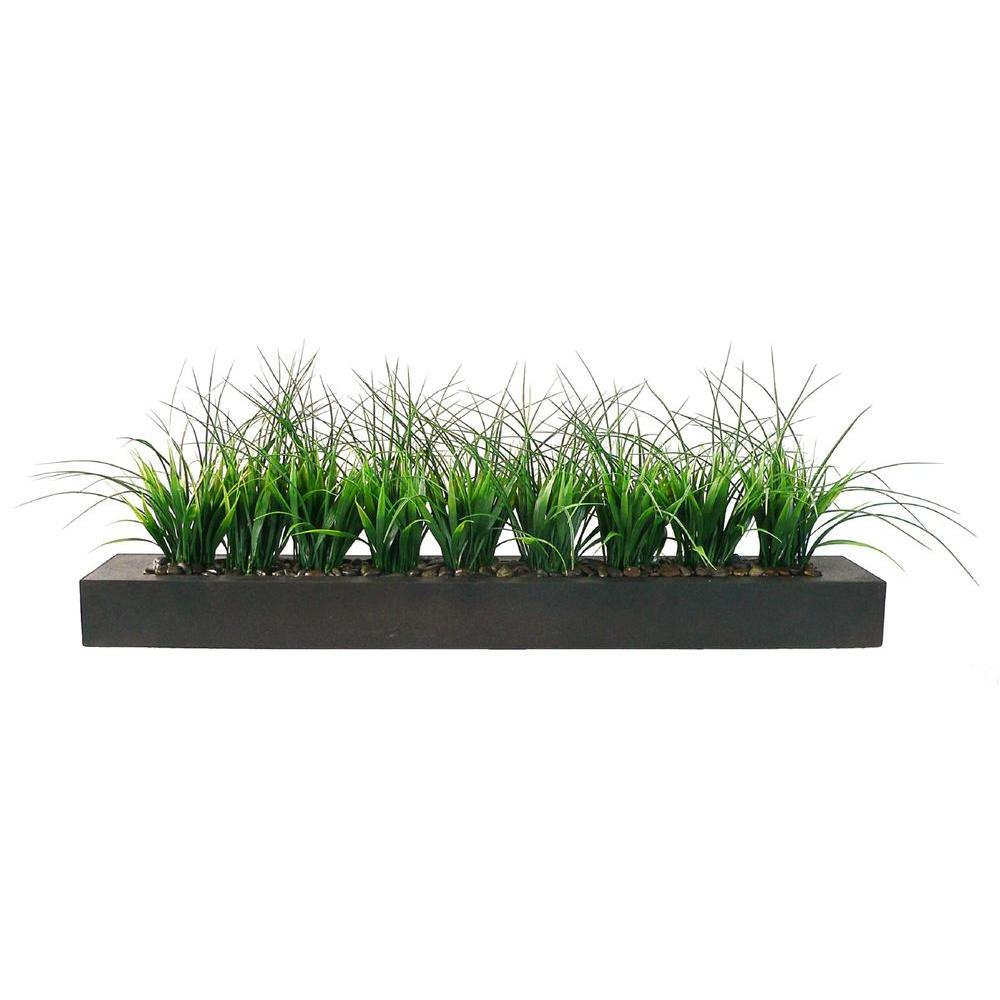 nearly natural areca and mixed greens with bamboo planter-6722 - the Artificial Plants for Outdoor Planters