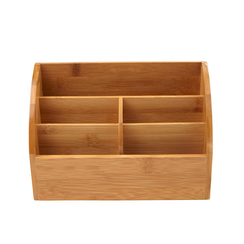 Bamboo 5-Compartment Desk Storage Organizer, Brown