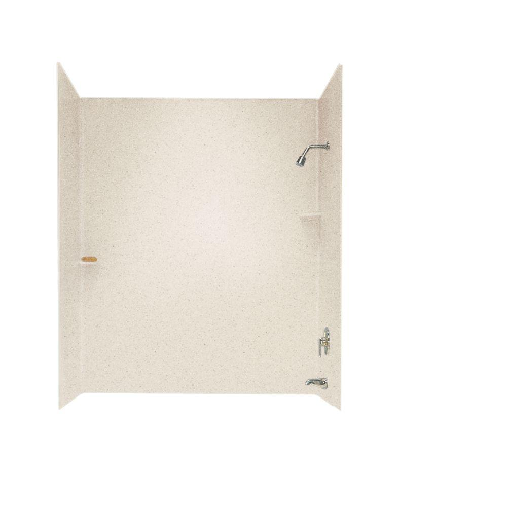 Swan 30 in. x 60 in. x 60 in. 3-Piece Easy Up Adhesive Tub Wall in Almond Galaxy