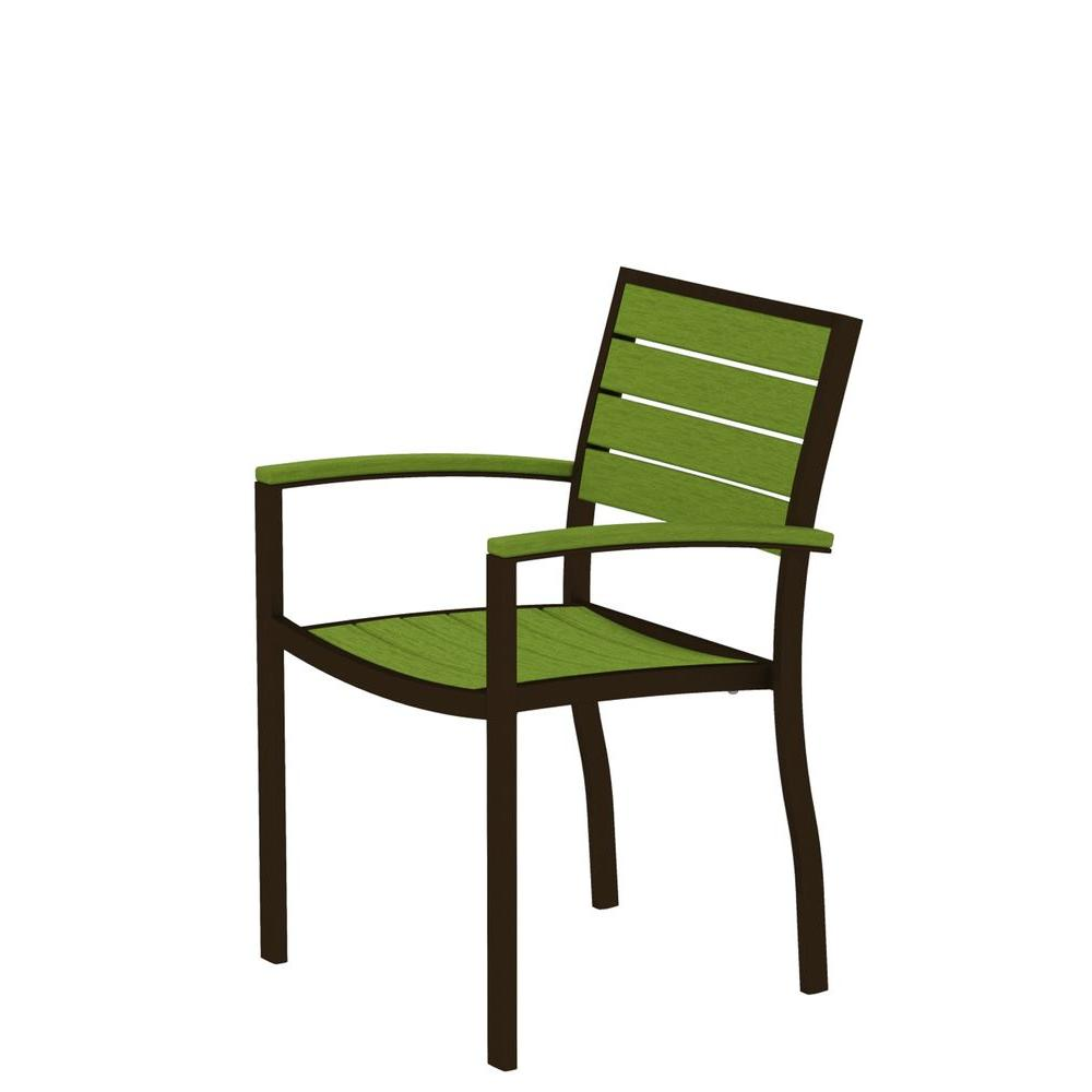 Euro Textured Bronze Patio Dining Arm Chair with Lime Slats