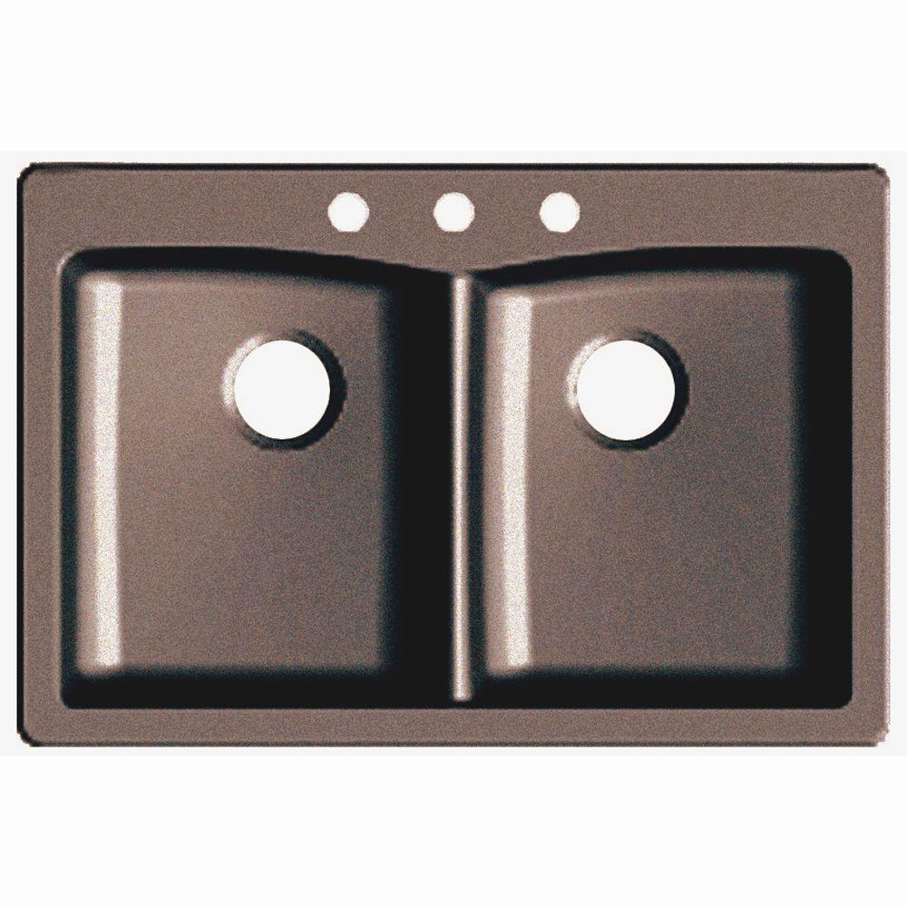 Glacier bay dual mount granite composite 33 in 3 hole double basin kitchen sink