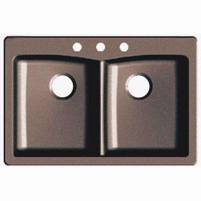 Dual Mount Granite Composite 33 in. 3-Hole Double Basin Kitchen Sink in Espresso