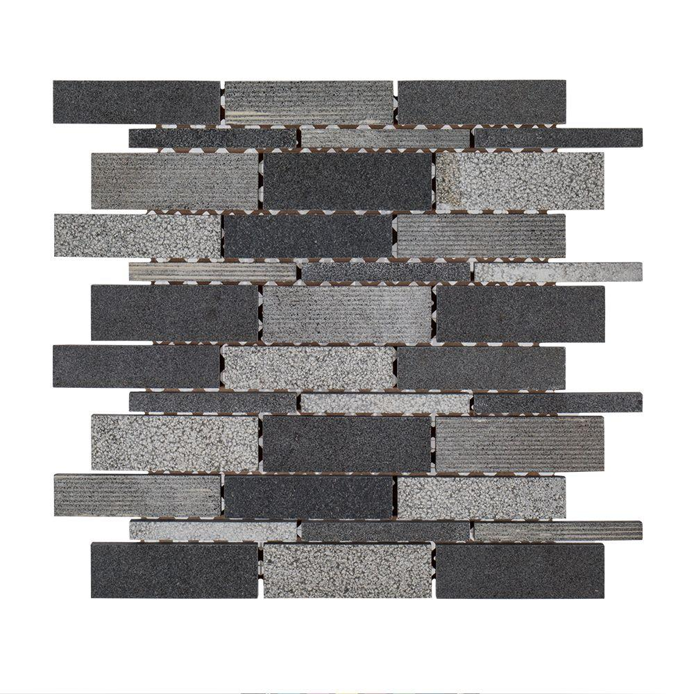 Jeffrey Court Ashes 10-1/2 in. x 10-3/4 in. x 8 mm Basalt Mosaic Tile