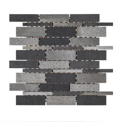 Ashes 10.5 in. x 12.125 in. x 8 mm Interlocking Textured Basalt Mosaic Tile