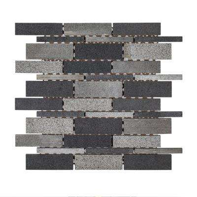 Ashes 10-1/2 in. x 10-3/4 in. x 8 mm Basalt Mosaic Tile