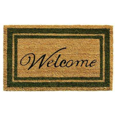 Sage Green Border Welcome Door Mat 18 in. x 30 in.