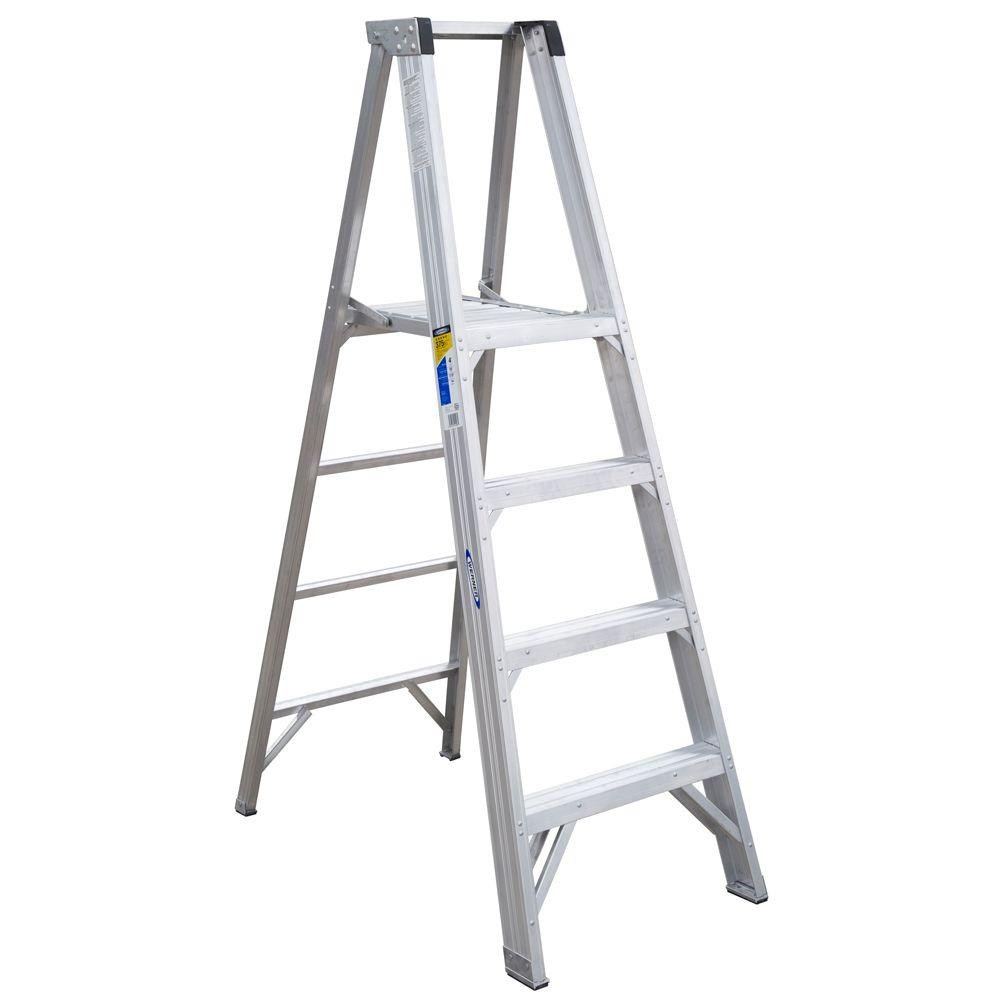 Werner 10 ft. Reach Aluminum Platform Step Ladder with 375 lb. Load Capacity Type IAA Duty Rating