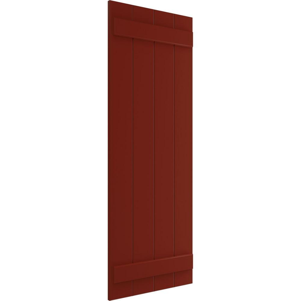 Ekena Millwork 21 1 2 X 66 True Fit Pvc Four Board Joined Board N Batten Shutters Pepper Red Per Pair 1573616 The Home Depot