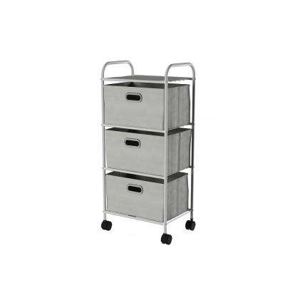 12 in. W x 35.5 in. H 3-Drawer Rolling Metal Storage Organizer with Fabric Bins