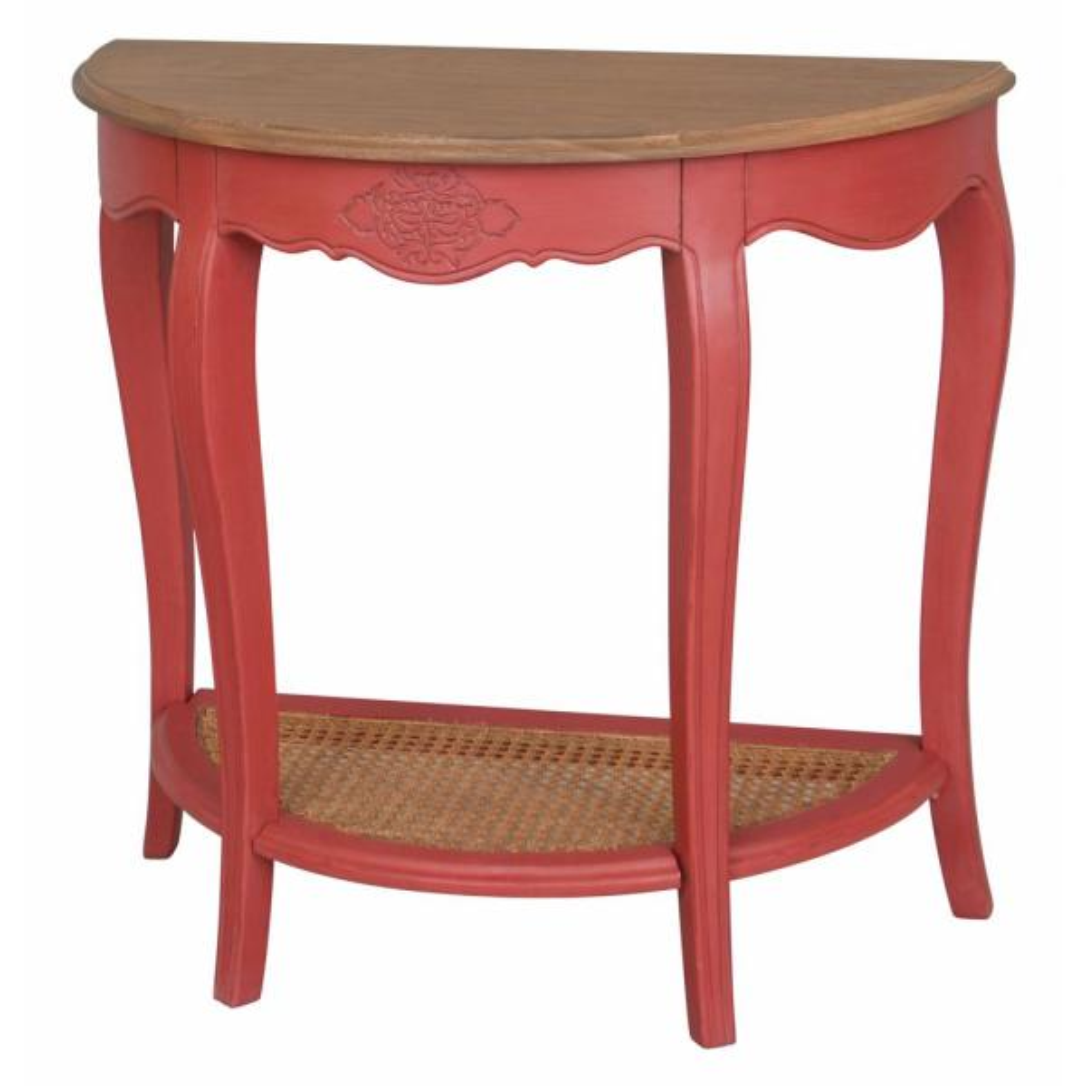 Ashbury Stradivarius Natural Oak Veneer and Antique Red Half-Moon Console Table