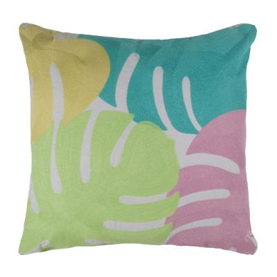 Tropical Bungalow Multiple Rainbow Palm Decorative Pillow 18 in. L x 18 in. W