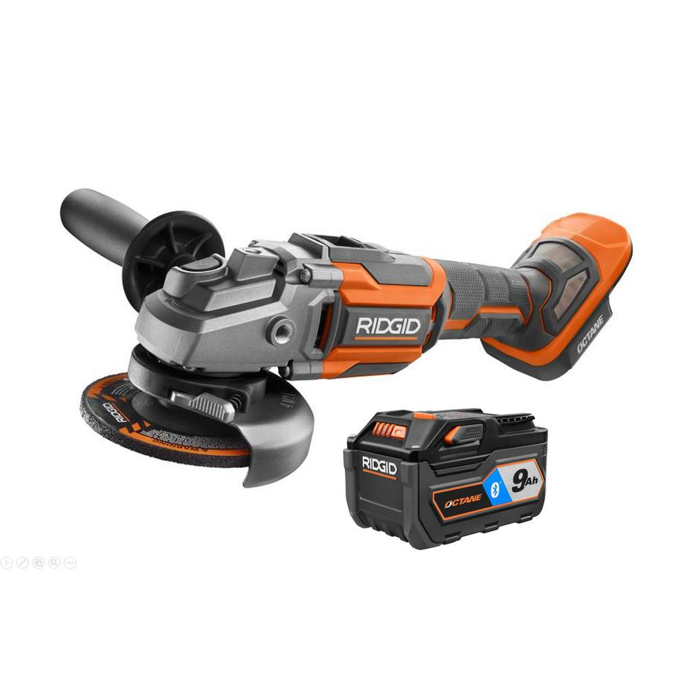 RIDGID 18-Volt OCTANE Cordless Brushless 4-1/2 in. Angle Grinder with OCTANE Lithium-Ion 9 Ah Battery was $318.0 now $218.0 (31.0% off)