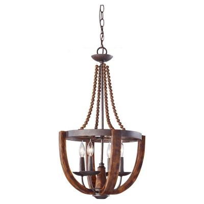 Adan 16.375 in. W 4-Light Rustic Iron/Burnished Wood Chandelier with Carved Wood Bead Details