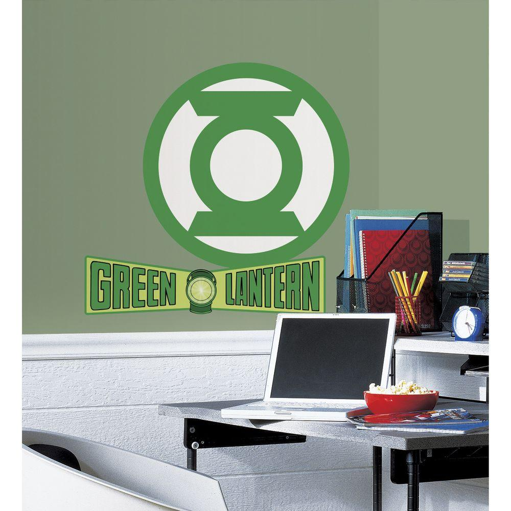 RoomMates 5 in. x 19 in. Classic Green Lantern Logo Peel and Stick Giant Wall Decals