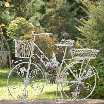 Large Antique White Iron Bicycle Plant Stand with Butterflies