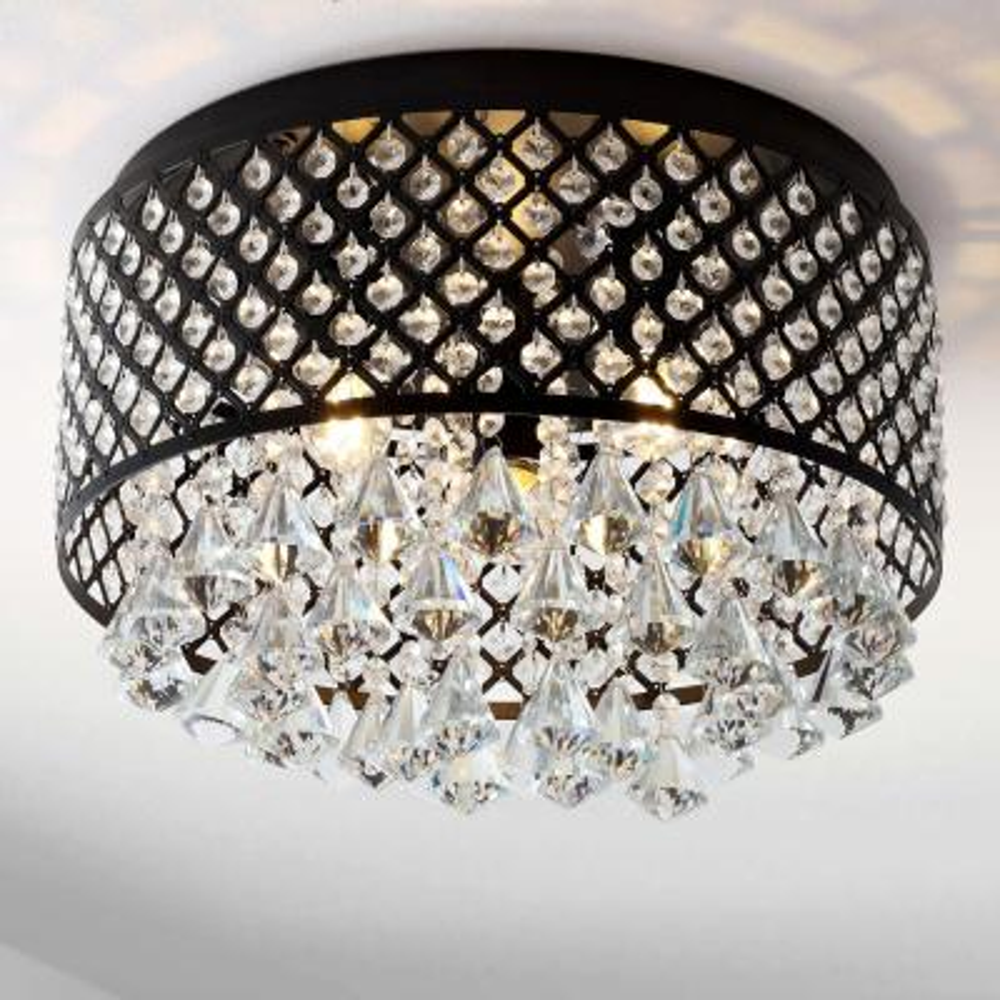 Evelyn 17 in. 3-Light Crystal Drops/Metal LED Flush Mount, Black
