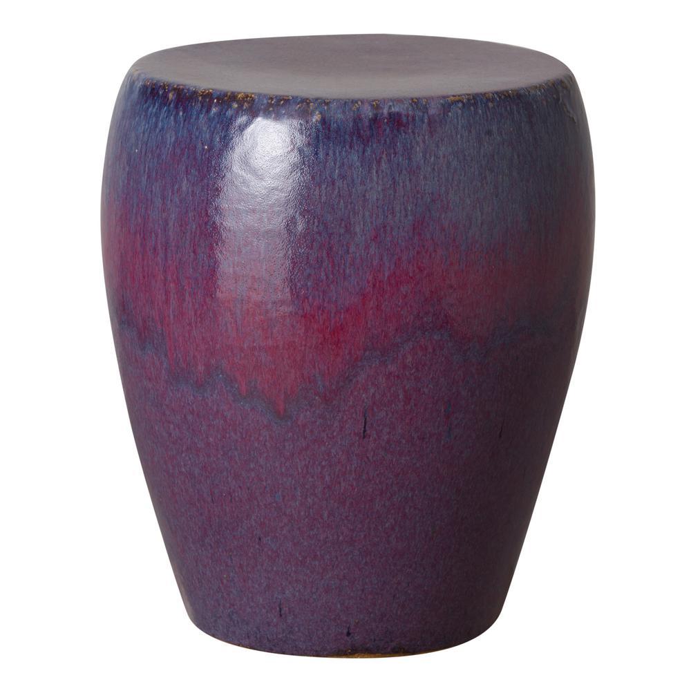 Round Violet Fusion Purple Ceramic Garden Stool