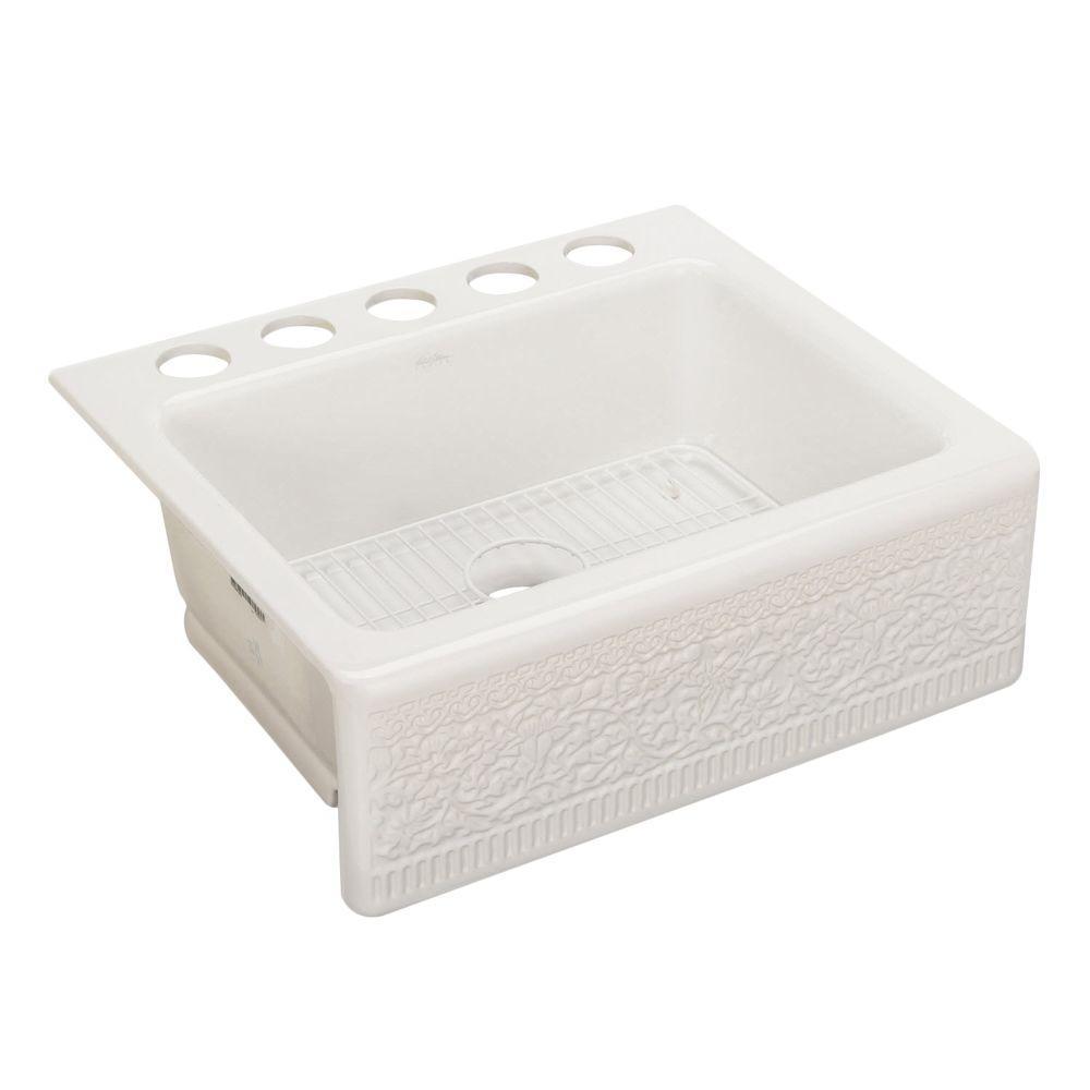 Interlace Design on Alcott Farmhouse Apron-Front Fireclay 25 in. 5-Hole Single Basin Kitchen Sink in White