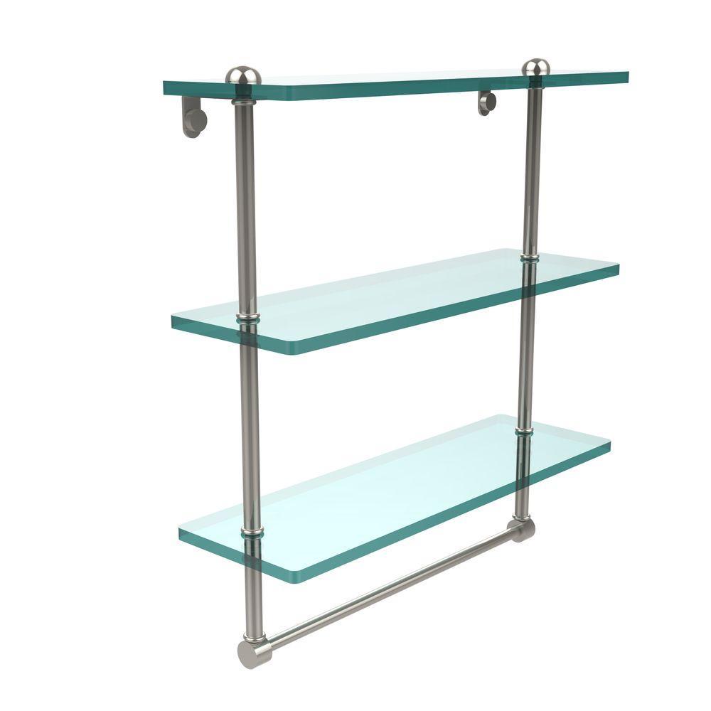 W 3-Tier Clear Glass Bathroom Shelf with Towel Bar in Polished Nickel