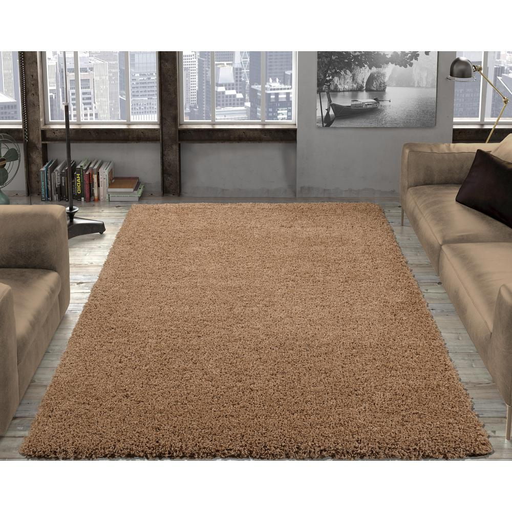 Contemporary solid beige 3 ft x 5 ft shag area rug